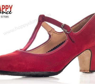Zapato de flamenco semiprofesional con tira vertical Happy Dance